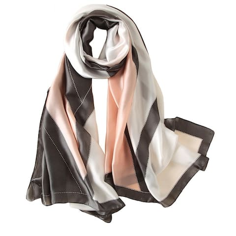 Elegant Geometric Pattern Women Long Wrap Scarf Shawl Silk Imitation Beach Towel