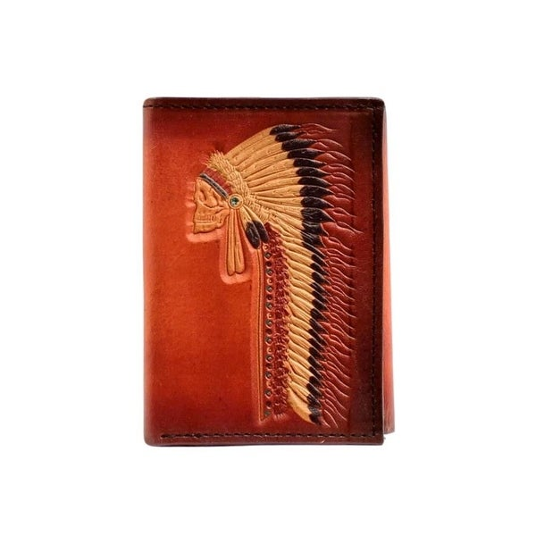 Ariat Western Wallet Mens Tri-fold Leather Credit Card Tan