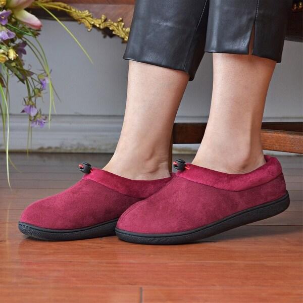 Dasein Women's Warm Comfort Memory Foam Suede Moccasin Slippers