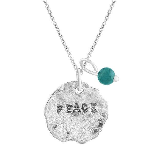 'Peace' Charm Pendant with Turquoise in Sterling Silver