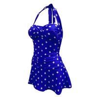 Retro Feel Bandeau Twist Front Halter Tie Swimdress in Blue/White Dot