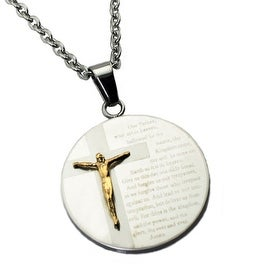 Stainless Steel Jesus Disc Pendant - 24 inches