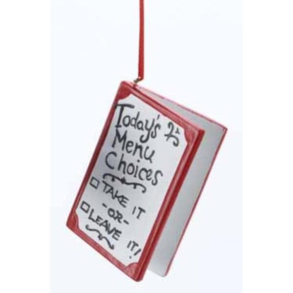 "2.5"" Take Out Food Menu Board Christmas Ornament - WHITE"