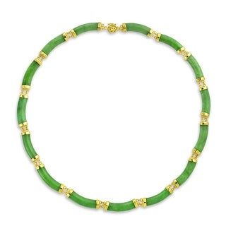 Bling Jewelry Green Jade Gold Plated .925 Sterling Silver Link Statement Necklace