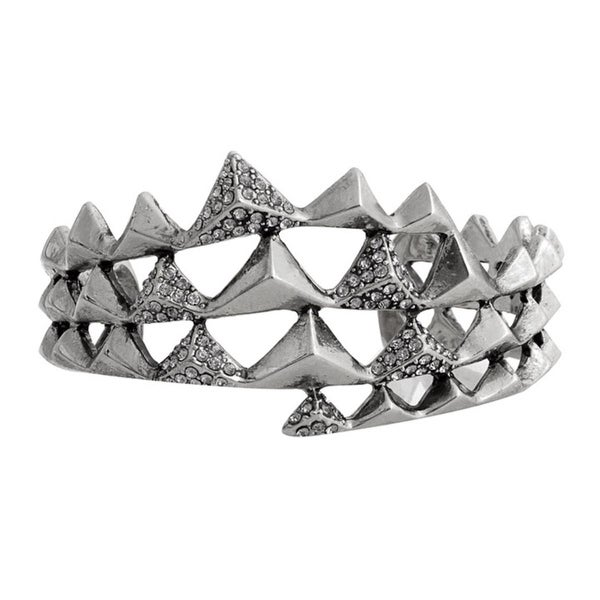House Of Harlow 1960 Womens Cuff Bracelet Antique Plated Pyramid Wrap - Silver