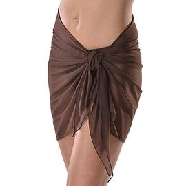 Short Brown Mesh Swimsuit Sarong Cover up with Built in Ties One Size