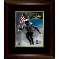 Ladainian Tomlinson signed San Diego Chargers 8x10 Photo Custom Framed carrying USA flag Tomlinson