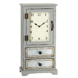 """19.5"""" Grey and Brown Decorative Desk Analog Clock Cabinet with Drawers"""