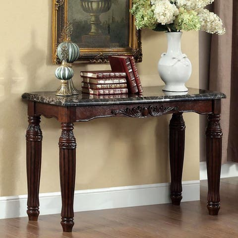 Furniture of America Laun Traditional Espresso Faux Marble Sofa Table