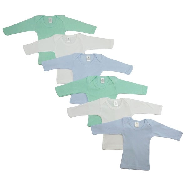 Bambini Boy'S White, Blue, Aqua Rib Knit Long Sleeve Lap T-Shirt 6-Pack
