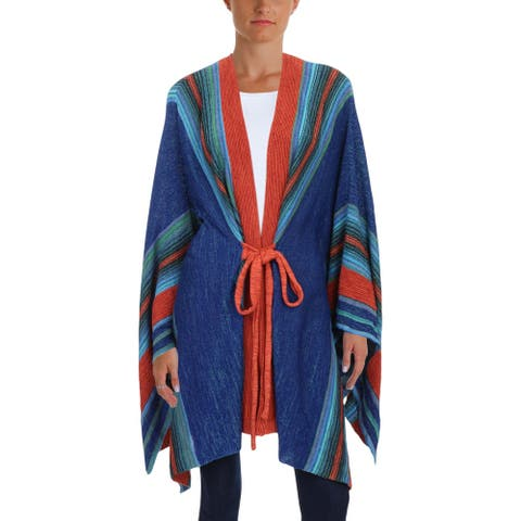 Free People Womens Cardigan Sweater Metallic Boho - Blue Combo - O/S