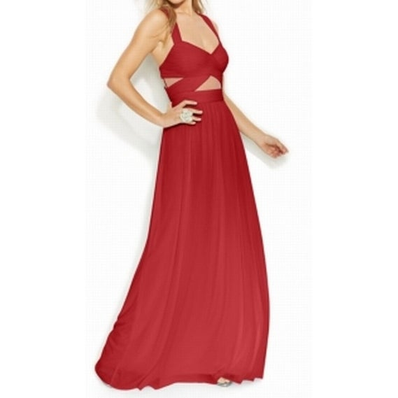 Shop Betsy Adam New Red Womens Size 6 Pleated Cutout Empire Waist