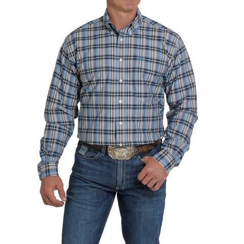 Cinch Western Shirt Mens Long Sleeve Ombre Plaid Button