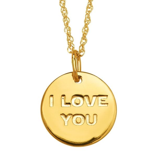 Star Wars 'I Love You; I Know' Reversible Disc Pendant in 10K Gold