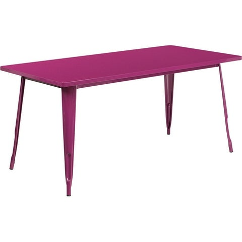 Brimmes Rectangular 31.5'' x 63'' Purple Metal Table for Patio/Bar