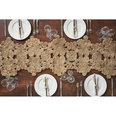 """LR Home Table Top Natural Jute Abstract Table Runner (1'4 x 6'8) - 1'4"""" x 6'8"""""""