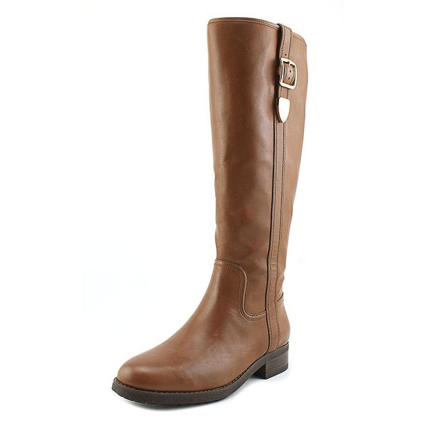Coach Easton Wide Calf Women Round Toe Leather Brown Knee High Boot