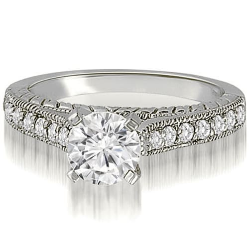1.03 cttw. 14K White Gold Milgrain Cathedral Round Cut Diamond Engagement Ring