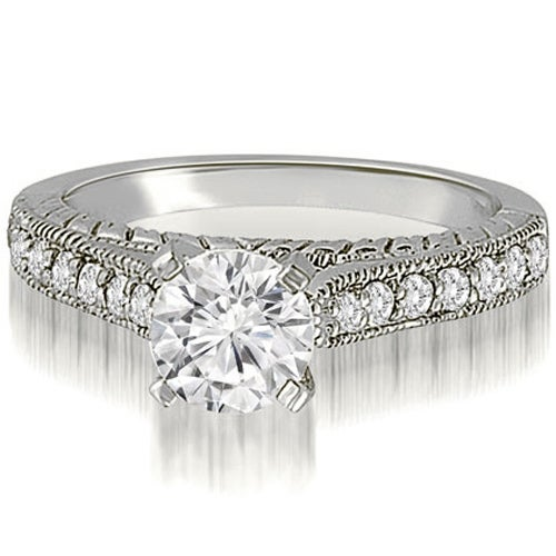 1.28 cttw. 14K White Gold Milgrain Cathedral Round Cut Diamond Engagement Ring