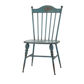 """39"""" Distressed Teal Blue and Grey Brown Iron Side Chair"""