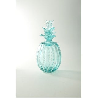 "13"" Blue Pineapple Design Glass Candy Jar - N/A"