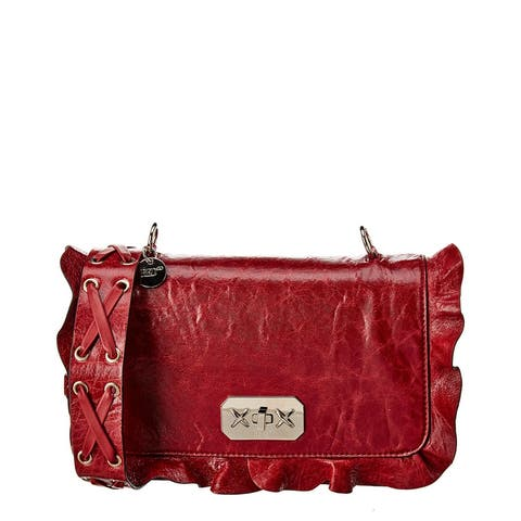 Red Valentino Rock Ruffles Leather Shoulder Bag