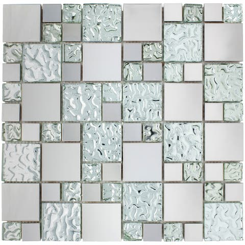 TileGen. Random Square Mixed Material Mosaic Tile in Cobble/Silver Wall Tile (10 sheets/9.6sqft.)