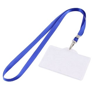 Unique Bargains Plastic ID Card Holder Lanyard Name School Office Bank Students Stationery Blue w Neck Strap