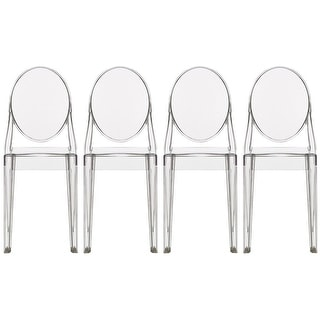 2xhome Set of Four (4) - LARGE Size - Clear Victorian Ghost Style Armless Side Chair