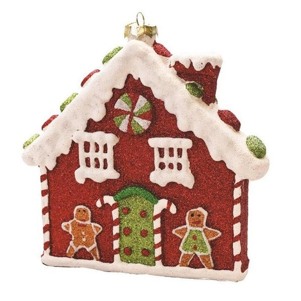 """7.25"""" Merry & Bright Red, White and Green Glitter Shatterproof Gingerbread House Christmas Ornament - RED"""