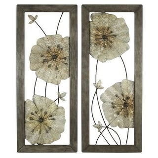 Aspire Home Accents 5144 Marla Flower Wall Decor (Set of 2)