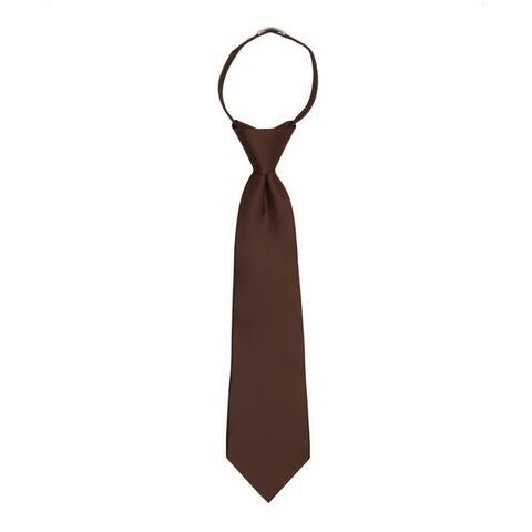 "Jacob Alexander Boy's 11"" Pretied Ready Made Solid Color Zipper Tie"