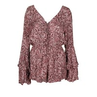 American Rag Juniors Pink Brown Paisley Print Lace-Up V-Neck Bell-Sleeve Romper