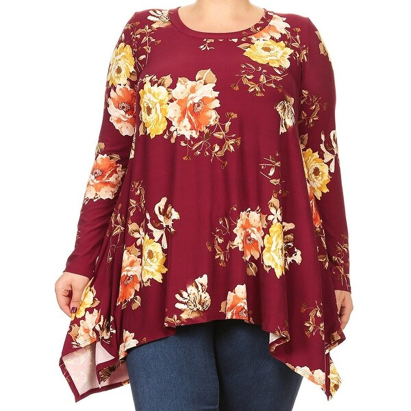 31f1af4a238 Women Plus Size Long Sleeve Floral Pattern Casual Tunic Top Shirt Burgundy  D396 FLO