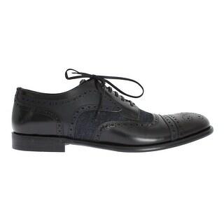 Dolce & Gabbana Black Leather Blue Denim Dress Formal Shoes - eu44-us11