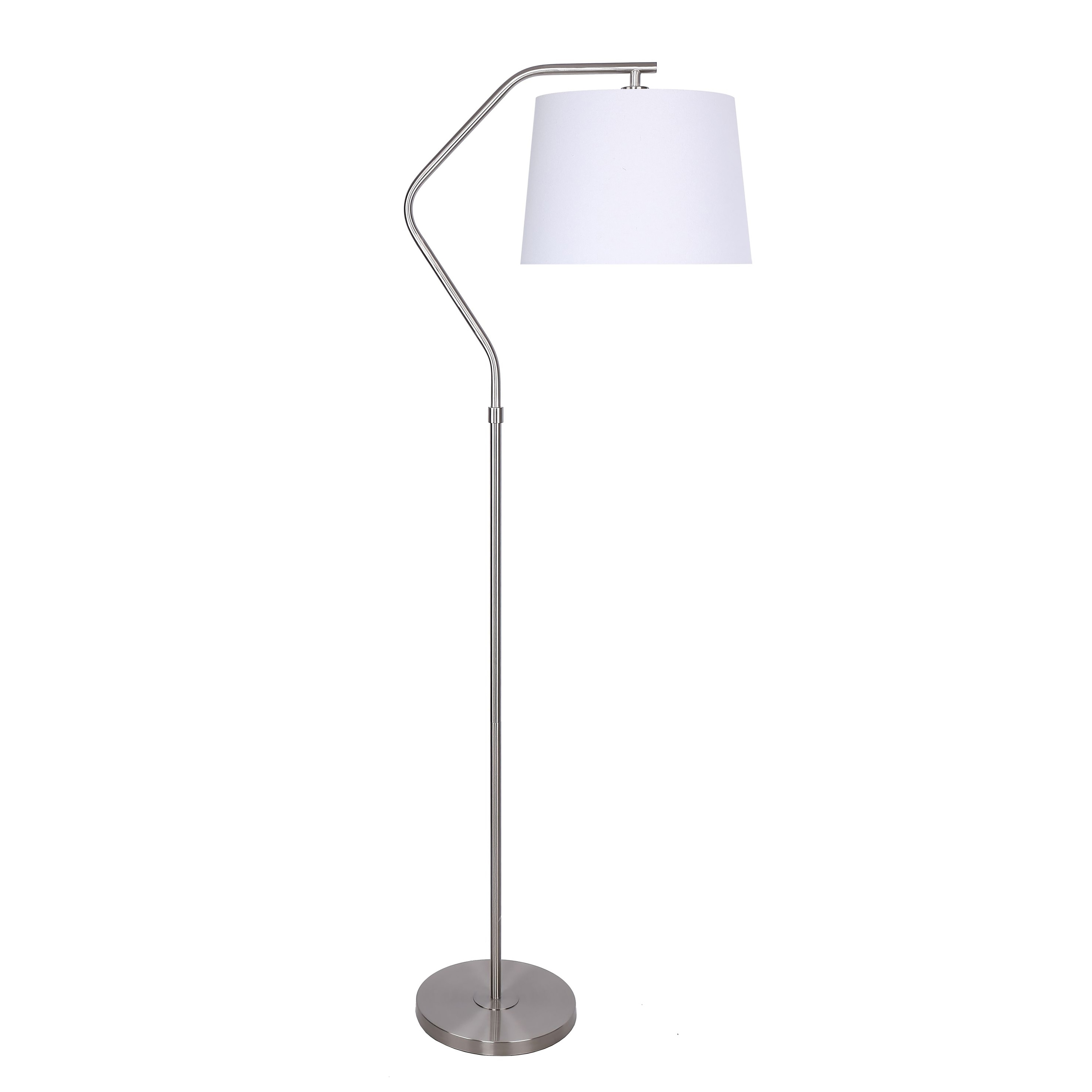 62 5 In Metal Floor Lamp With Angled Base Design And Linen Tapered Drum Shade Overstock 32066648