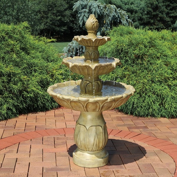 Sunnydaze Classic Tulip 3-Tier 46-Inch Outdoor Water Fountain - Garden Stone