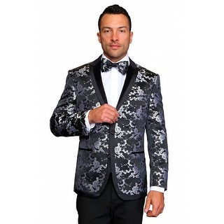 MZS-237 BLACK Men's Manzini Fancy WOVEN, sport coat with black satin lapel.