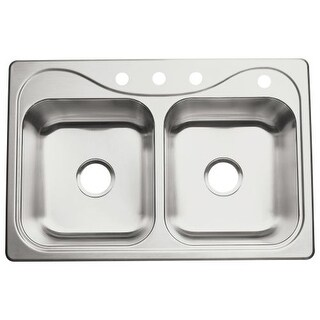 """Sterling 11401-4 Southhaven 33"""" Double Basin Drop In Stainless Steel Kitchen Sink with SilentShield"""