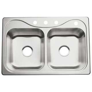"Sterling 11402-4 Southhaven 33"" Double Basin Drop In Stainless Steel Kitchen Sink with SilentShield"
