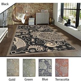 5x8 Feet Black Gold Green Blue Terracotta Modern Contemporary Indoor Outdoor Area Rug Carpet