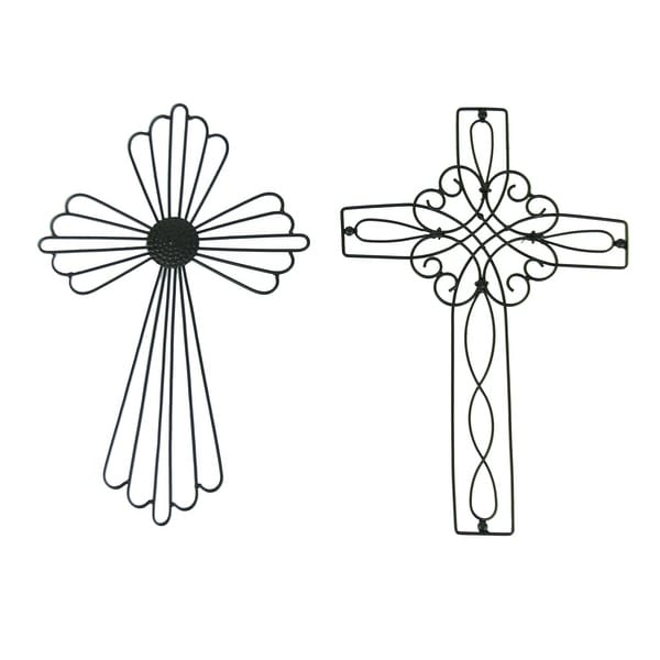 Black Metal Wire Wall Cross Set of 2 - 14 X 9 X 0.25 inches