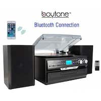 Boytone  24-Series Black 8-in-1 Bluetooth Home Turntable System
