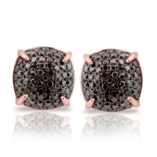 Fabulous 0.50 Carat Black Diamond Screw Back Cluster Puffed Dome Earring