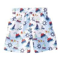 Azul Baby Boys Light Blue Out To Sea Ship Print Drawstring Swim Shorts