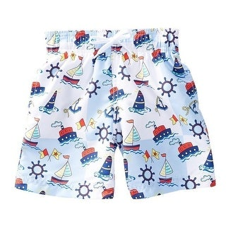 Azul Baby Boys Light Blue Out To Sea Ship Print Drawstring Swim Shorts