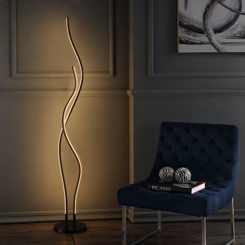 "Cairo 63.75"" LED Integrated Floor Lamp, Black by JONATHAN Y - 63.75"" H x 9.875"" W x 9.875"" D"