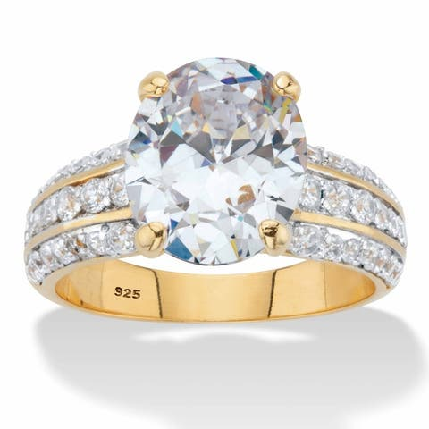 Gold over Silver Oval Cut Cubic Zirconia Triple-Row Engagement Ring