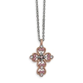Silvertone & Rosetone Purple Crystal Filigree Cross Necklace - 24in