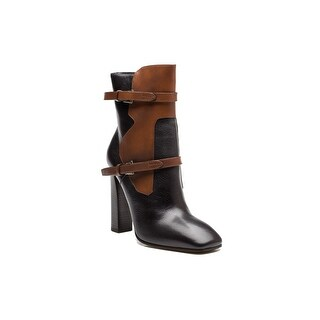 Prada Women's 2-Toned Leather High Heel Strapped Boot Shoes